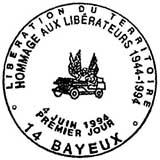 Oblitération 1er jour à Bayeux le 4 juin 1994