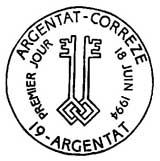 Oblitération 1er jour à Argentat le 18 juin 1994