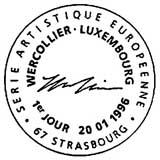 Oblitération 1er jour à Strasbourg le 20 janvier 1996