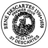 Oblitération 1er jour à Descartes le 30 mars 1996