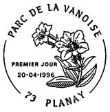 Oblitération 1er jour à Planay le 20 avril 1996