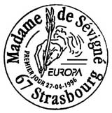 Oblitération 1er jour à Paris et Strasbourg le 27 avril 1996