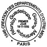 Oblitération 1er jour à Paris et Basse-Terre le 16 novembre 1996