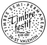 Oblitération 1er jour à Chessy et Saint-valentin le 8 février 1997