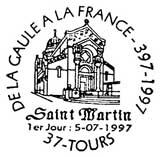 Oblitération 1er jour à Tours le 5 juillet 1997
