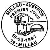 Oblitération 1er jour à Millau le 15 mars 1997
