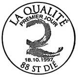 Oblitération 1er jour à Saint-Dié, Albertville et Dijon le 18 octobre 1997