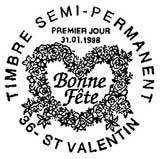 Oblitération 1er jour à Saint-Valentin le 31 janvier 1998