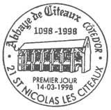 Oblitération 1er jour à St-Nicolas les Citeaux le 14 mars 1998