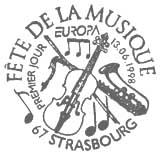 Oblitération 1er jour à Strasbourg et Paris le 13 juin 1998