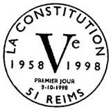 Oblitération 1er jour à Reims le 3 octobre 1998