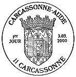 Oblitération 1er jour à Carcassonne le 3 mars 2000