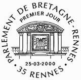 Oblitération 1er jour à Rennes le 25 mars 2000