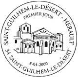 Oblitération 1er jour à Saint-Guilhem-le-Désert le 8 avril 2000