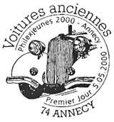 Oblitération 1er jour à Annecy, Sochaux, Mulhouse, Puteaux le 5 mai 2000