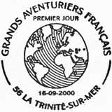 Oblitération 1er jour à La Trinité et Nantes le 16 septembre 2000