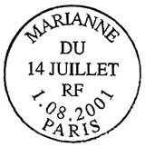 Oblitération 1er jour à Paris le 1 aout 2001