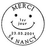 Oblitération 1er jour à Nancy le 23 mars 2001