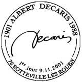 Oblitération 1er jour à Sotteville les Rouen le 9 novembre 2001