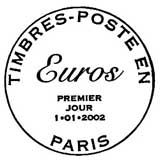 Oblitération 1er jour à Paris le 1 janvier 2002