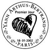Oblitération 1er jour à Paris le 18 janvier 2002
