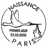 Oblitération 1er jour à Paris le 23 février 2002