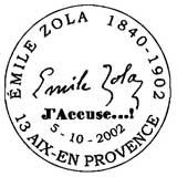 Oblitération 1er jour à Paris et Médan le 5 octobre 2002