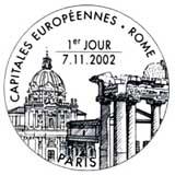 Oblitération 1er jour à Paris et Rome le 7 novembre 2002