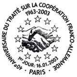 Oblitération 1er jour à Paris et Berlin le 16 janvier 2003