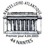 Oblitération 1er jour à Nantes le 4 avril 2003