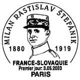 Oblitération 1er jour à Paris et Modra (Slovaquie) le 3 mai 2003