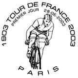 Oblitération 1er jour à Paris, Montgeron, Bordeaux, Nantes, Lyon, Toulouse et Marseille le 28 juin 2003