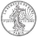 Oblitération 1er jour à Paris le 6 novembre 2003
