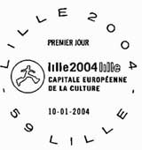 Oblitération 1er jour à Lille le 10 janvier 2004