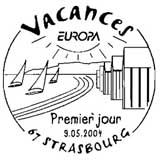 Oblitération 1er jour à Strasbourg le 9 mai 2004