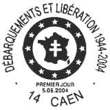 Oblitération 1er jour à Paris et Caen le 5 juin 2004