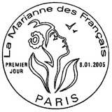 Oblitération 1er jour à Paris le 8 janvier 2005