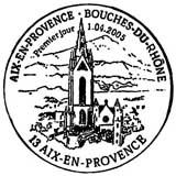 Oblitération 1er jour à Aix en Provence le 1 avril 2005