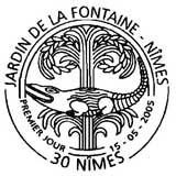 Oblitération 1er jour à Nimes le 15 mai 2005
