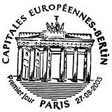 Oblitération 1er jour à Paris et Berlin (Allemagne) le 27 aout 2005