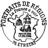Oblitération 1er jour à Etretat le 17 septembre 2005