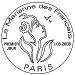 Oblitération 1er jour à Paris le 1 mars 2008