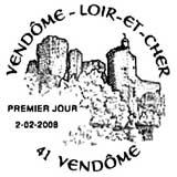 Oblitération 1 jour samedi 2 et dimanche 3 février 2008 à Vendôme