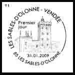Oblitération 1 jour  aux Sables d'Olonnes le samedi 31 janvier et dimanche 1 février 2009