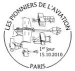 Oblitération 1er jour à Paris au Carré d'Encre, St Denis, Mérignac, Maillebois, Bouy et Champagné le 15 et 16 octobre 2010