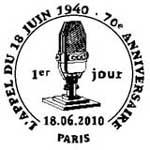 Oblitération 1er jour à Paris  au Salon du timbre et à Colombey les Deux Eglises le 18 juin 2010