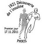 Oblitération 1er jour à Paris  au Carré d'Encre, à l'Association Française des Diabétiques et à Caen le  jeudi 17 novembre 2011.'