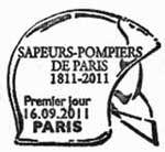 Oblitération 1er jour à Paris  au Carré d'Encre, Cintegabelle, Bordeaux, Pacé, Fiminy, Nantes,  Tomblaine, Aras, Lyon, Montville, Chasseneuil du Pointou, Fort-de-France et Robert 16 et 17 septembre 2011.'