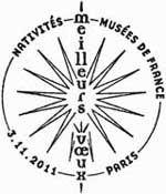 Oblitération 1er jour à Paris  au Carré d'Encre et au Salon Philatélique d'Automne à Paris Expo le 3,4 et 5 novembre 2011.