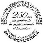 Oblitération 1er jour à Paris  au Carré d'Encre et à Marcy l'Etoile le samedi 14 mai 2011.'